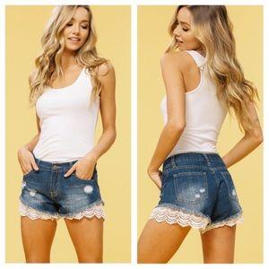 Pants - New LYLA Lace Trimmed Denim Shorts